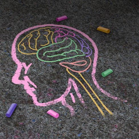 Concept of autism and autistic development disorder as a symbol of a communication and social behavior psychology as a chalk drawing on asphalt in a 3D illustration style.